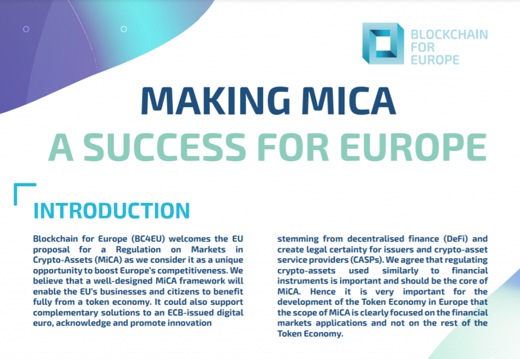Blockchain for Europe – Making MiCA a success for Europe