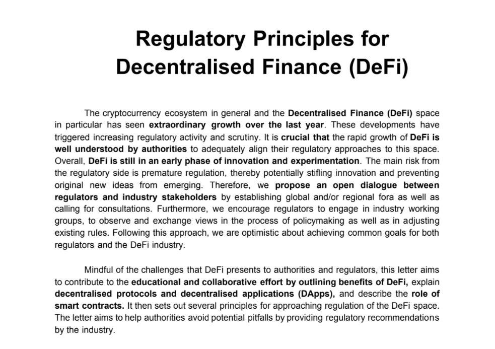 Regulatory Principles for Decentralised Finance (DeFi)